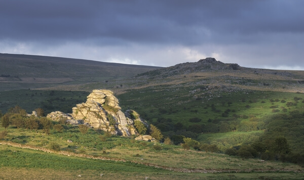 Vixen Tor looking east towards King's Tor on a summer sunset.