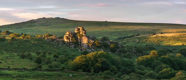 Vixen Tor looking north towards Great Mist Tor on a summer sunset.