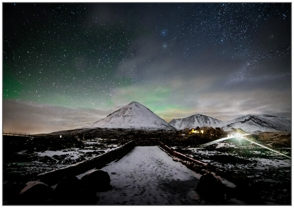 Looking over Sligachan Old Bridge at night in February 2019