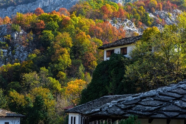Autumn colours at Cherepish monastery. Use of backlight on the interesting houses