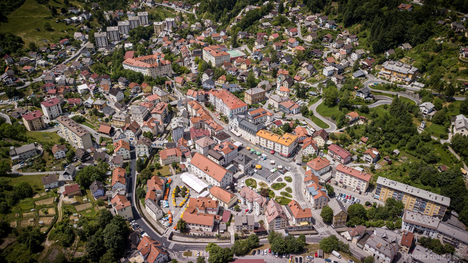Idrija town center from above. 