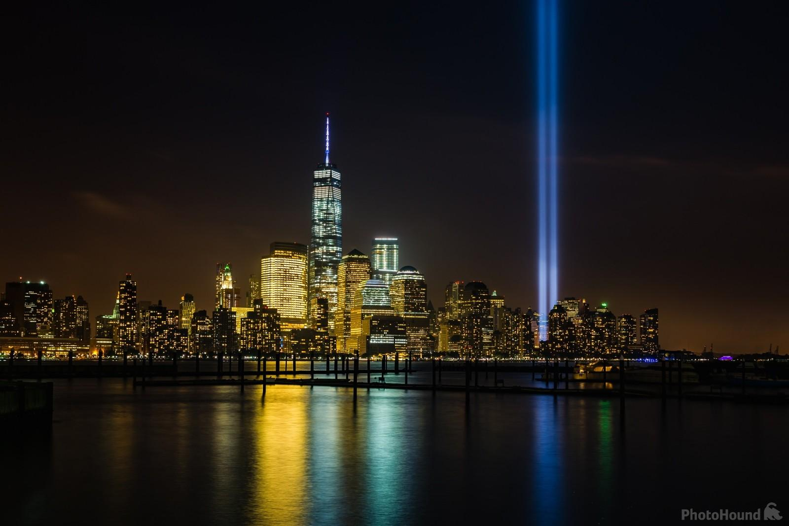 Lower Manhattan skyscrapers from Jersey, captured with the Tribute in Light