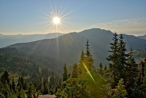 Just before sunset, August 2018 from Hurricane Ridge, along the High Ridge Trail.
