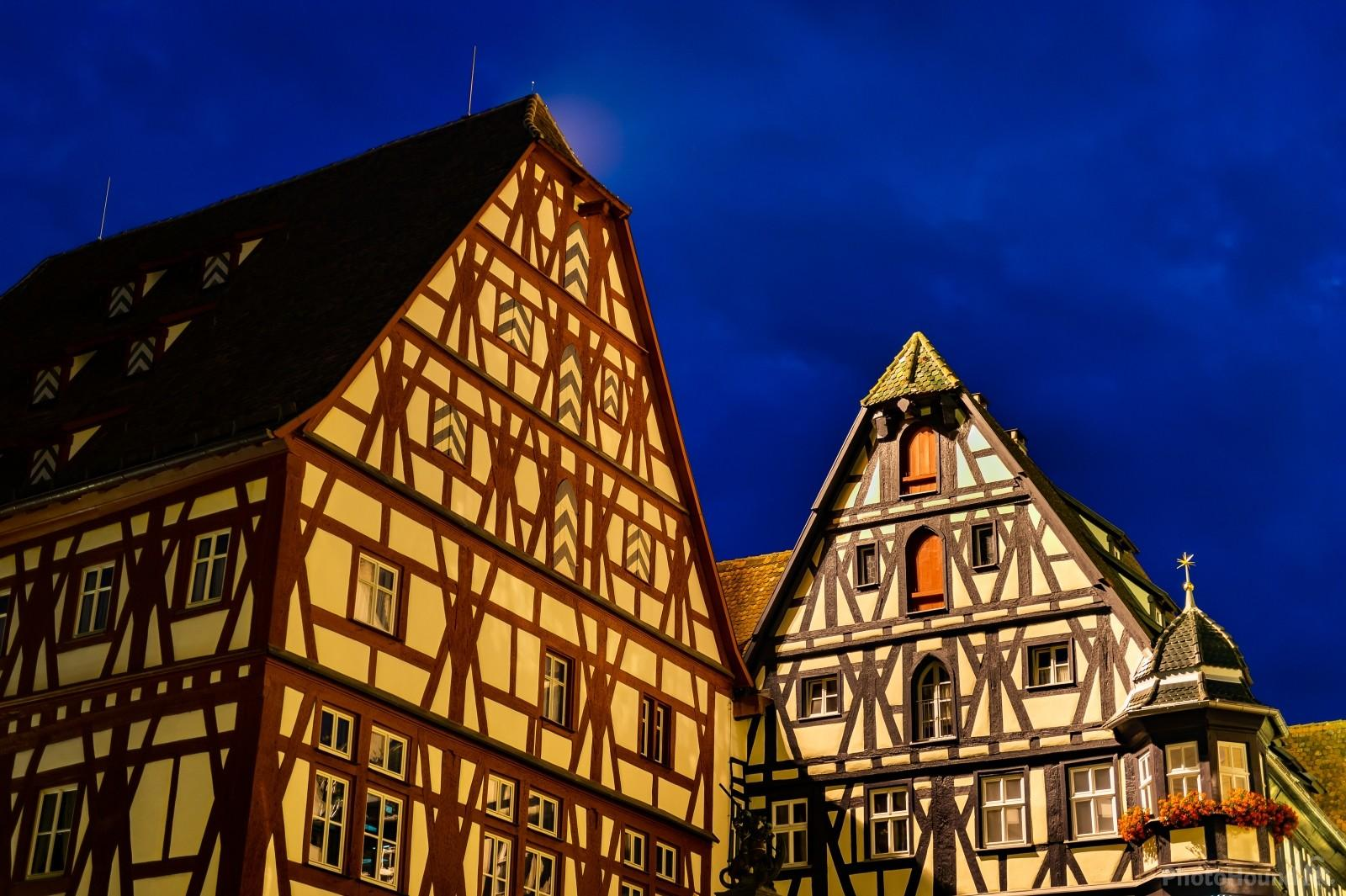 Detail of the typical half-timbered houses in Rothenburg ob der Tauber