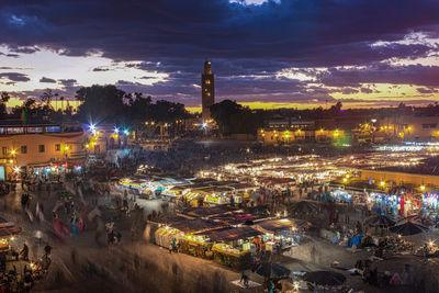 View of Jemaa el-Fna Square at blue hour from Grand Balcon Cafe Glacier.