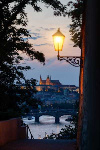 Evening shot of Prague Castle from Vyšehrad