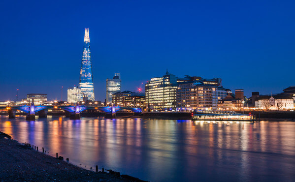 View of the Shard and Globe Theatre from the northern end of the Millennium Bridge.