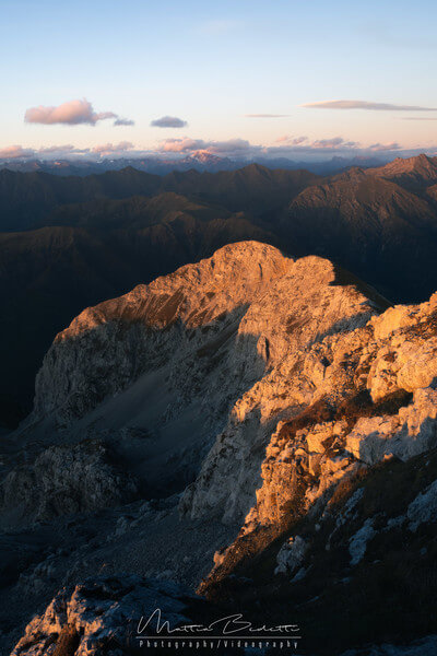 Sunset from the rifugio looking towards the Alps and Monte Disgrazia