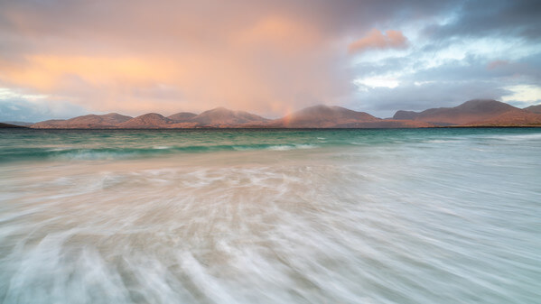 North Harris hills from the beach