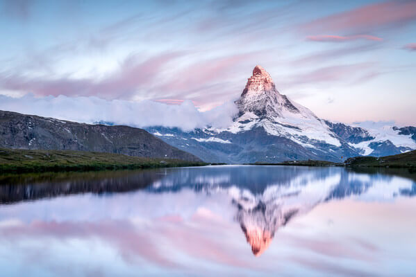 Pink Clouds and Alpenglow around Sunrise, Stellisee