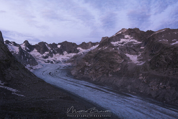 Before sunrise over the Forno Glacier
