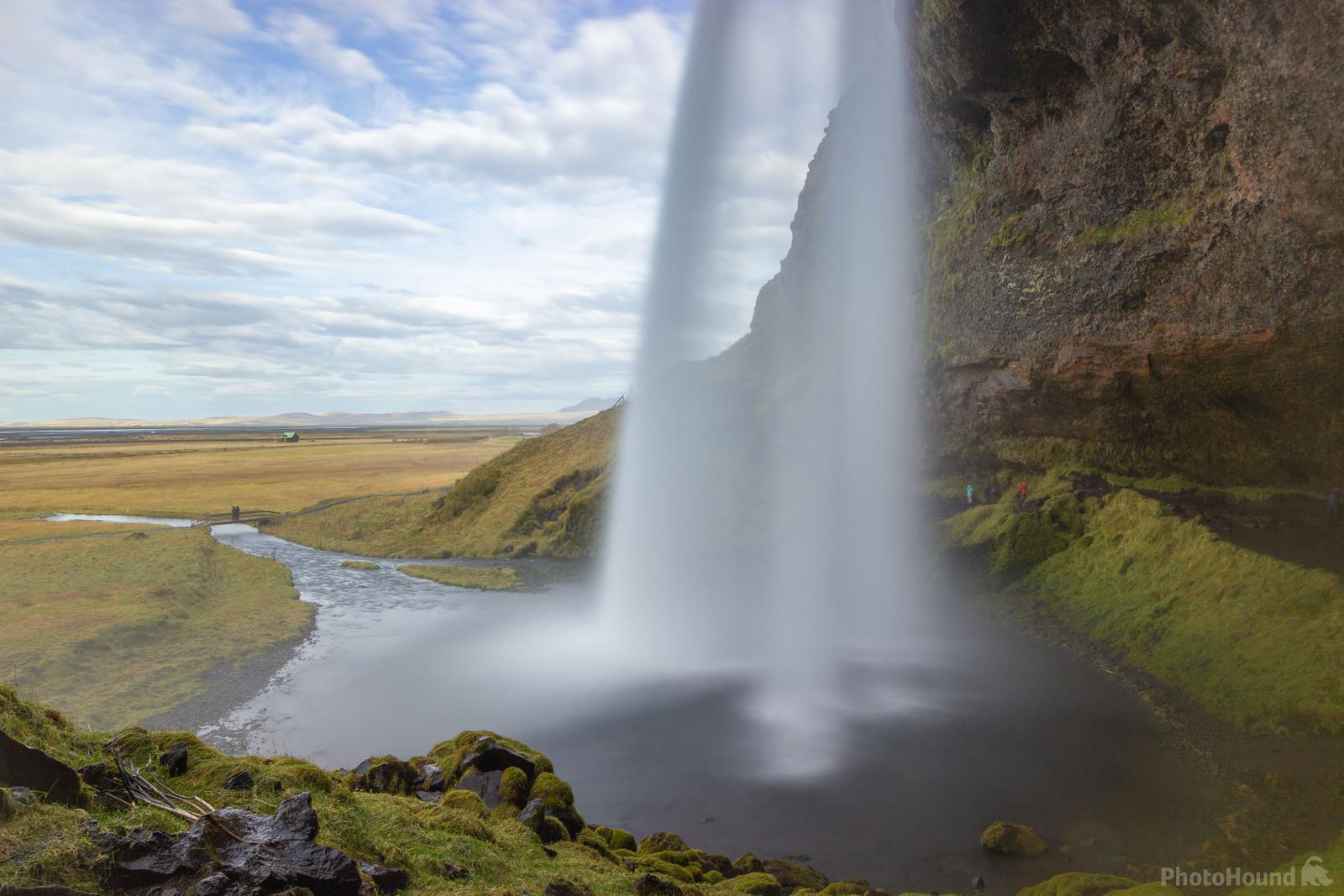 Seljalandsfoss waterfall from the path that runs behind the waterfall