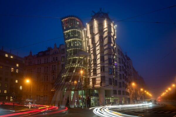 Dancing House in Prague during dusk