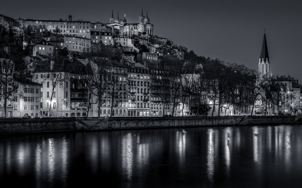 Blue Hour on the Saone and the St-Georges district at Lyon in B/W view from the banks of Saone. 