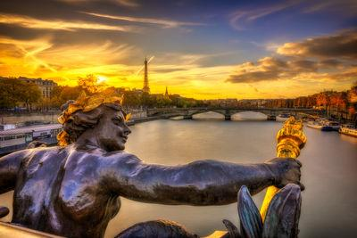 Ile De France photo locations - Eiffel tower and Pont des Invalides seen from the Pont Alexandre III