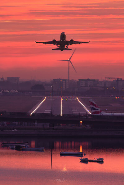 View to the east of London City Airport at dawn