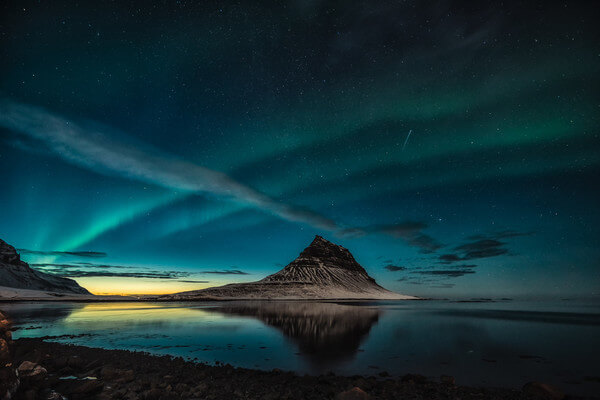 The northern lights appear just after sunset
