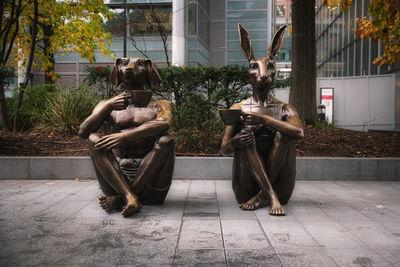 images of London - Dogman & Rabbitwoman Sculpture