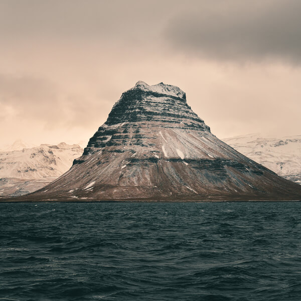 View of Kirkfufell from the North, taken from a whale watching tour boat.