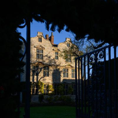 National Trust owned Treasurer's House taken through the gate to the gardens