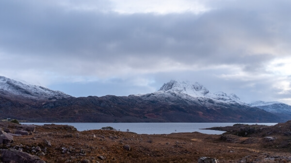 From the road along Loch Maree there are countless spots over Ben Slioch on the northern shore