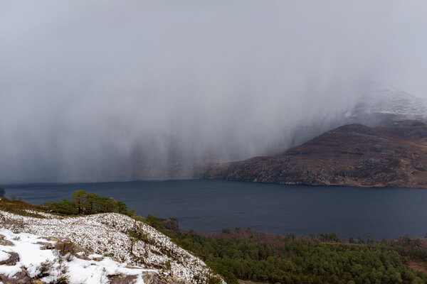 A hailstorm Over Loch Maree, from just above the tree-level on the Beinn Eighe Woodland Trail
