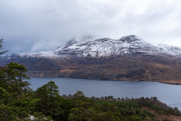 View over Loch Maree, looking north from the Beinn Eighe Woodland Trail