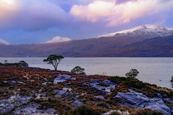 Late afternoon view towards the northern slope of Loch Maree, just off the A832