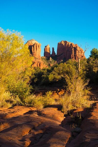 View of Cathedral Rock from Oak Creek close to the Crescent Moon Picnic Area.