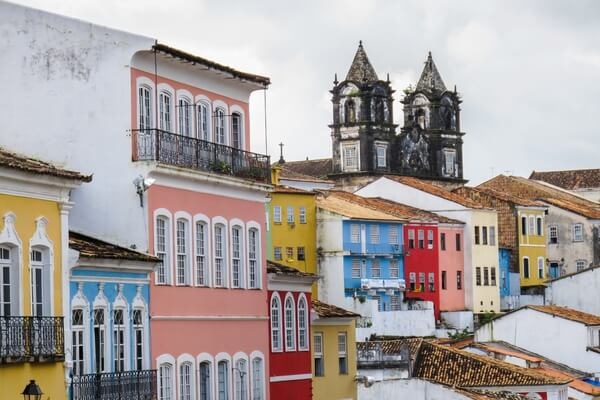Colorful buildings in Pelourinho, old part of Salvador city in Bahia, Brazil.