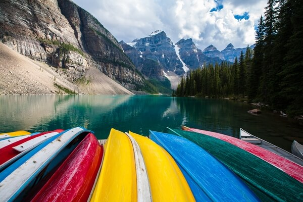 Moraine Lake and Canoes