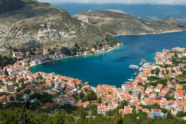 Elevated view of Kastellorizo & harbour