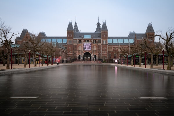 "Rijksmuseum Reflecting Pool - gloomy winter day, 2020 - the sign ""I am sterdam"" already removed."