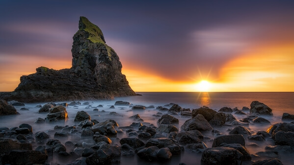 A very dramatic sunset from the Talisker Bay with a little bit of slow exposure used to capture the movement of the water.