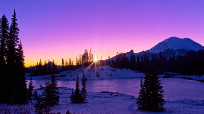 Winter sunset at Lower Tipsoo. I shot this with a cooler white balance to pull out the pinks and purples.