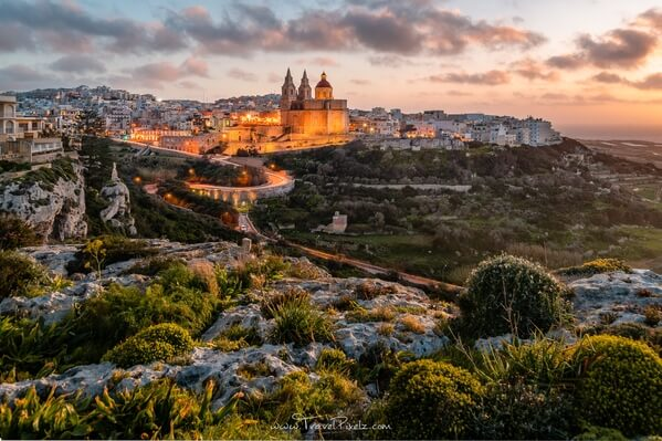The picturesque town of Mellieħa with the Mellieħa Parish Church in the Northern region of Malta.