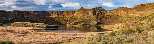 Stitched image of Dry Falls and Dry Falls Lake