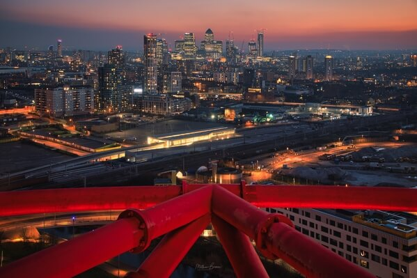 View towards Canary Wharf at dusk