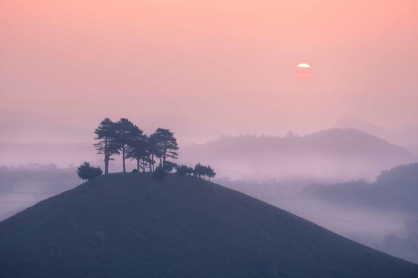 Colmers Hill, is at its best on misty mornings when the hill and those in the distance peak above the morning's blanket of mist.