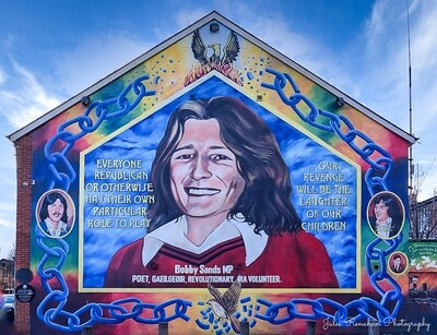 Bobby Sands was a member of the paramilitary group the Irish Republican Army and a member of the UK parliament. He led the 1981 hunger strike and died in Prison Maze while on strike.
