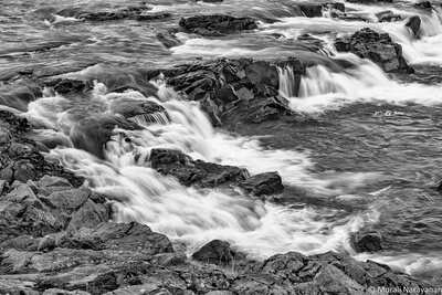 photography spots in Iceland - Urridafoss Waterfall in B&W
