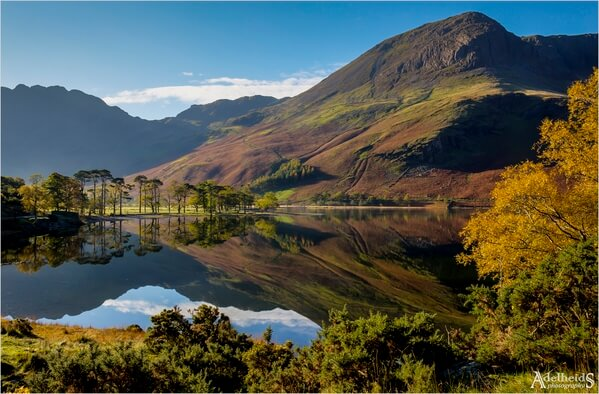A classic view in the lake District is that of the lake and the pine trees on the shore.