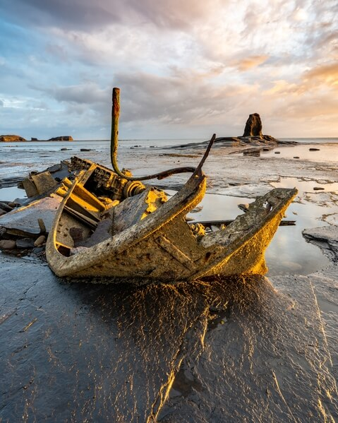 The wreck of Admiral Von Tromp, came aground in 1976 alas two of its crew perished. Only accessible when tide is relatively low and wellies strongly recommended.