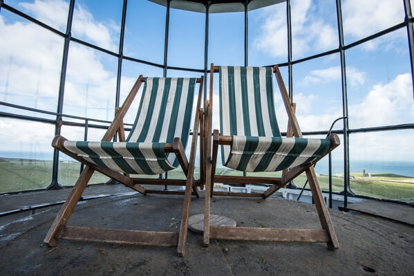 Deck chairs at the top of the lighthouse tower