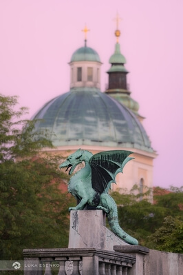 Ljubljana photography locations - Ljubljana Dragon with the Cathedral