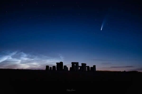 Comet NEOWISE and noctilucent clouds - looking north from A303