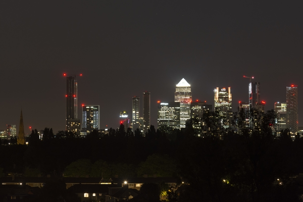 Night shot of Canary Wharf while waiting for comet NEOWISE