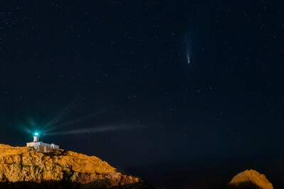 Haute Corse photo locations - Ile de la Pietra Lighthouse from the South (with Neowise Comet)