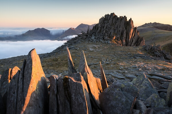A special evening in May on Glyder Fach above an inversion with Castle of the Winds being above it.