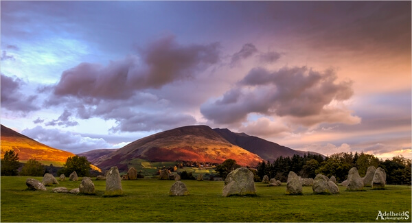 The Castlerigg Stone Circle near Keswick, with Blencathra mountain in the background, shot on an autumn morning.